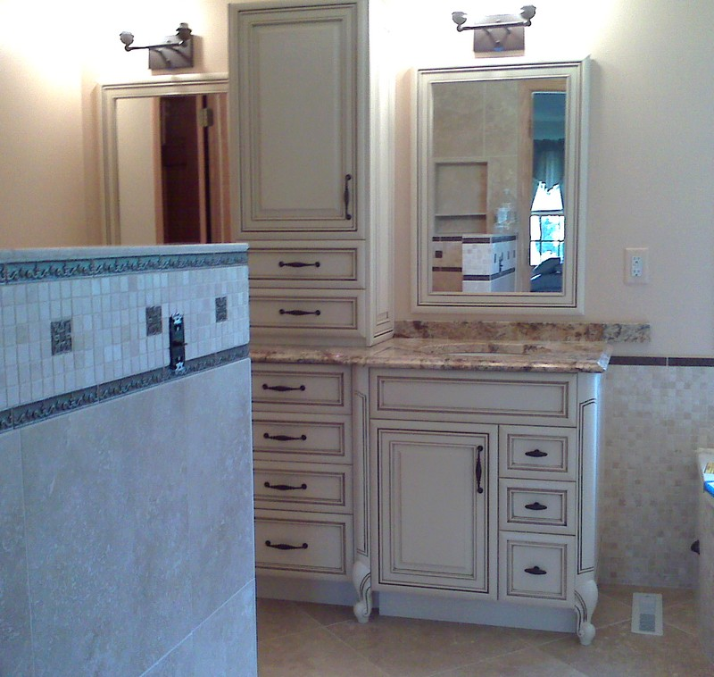 White Vanity with brown glaze